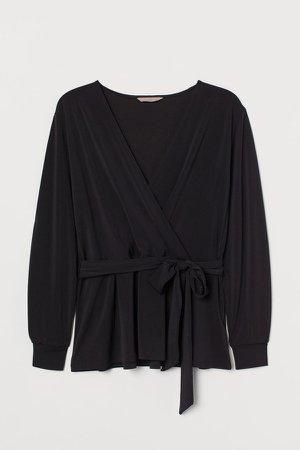 H&M+ Tie-belt Top - Black