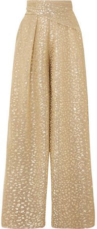 Sister Metallic Voile Wide-leg Pants - Gold