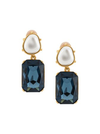 Oscar De La Renta, Crystal and pearl Drop Earrings