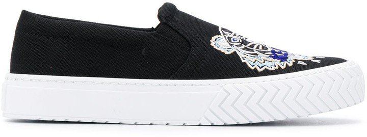 Embroidered Tiger Slip-On Sneakers