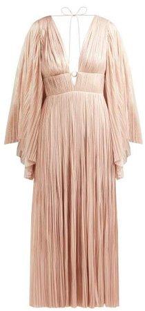 Zakiya Pleated Silk Midi Dress - Womens - Nude