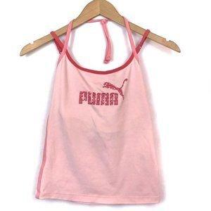 Puma Tops | Puma Pink Tie Halter Neck Spaghetti Strap Tank Top | Poshmark