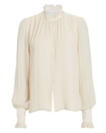 Jonathan Simkhai Marlene Ruffled Silk Blouse | INTERMIX®