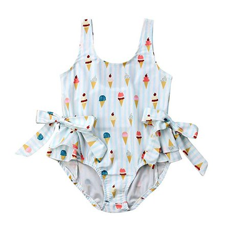 Amazon.com: VISGOGO Toddler Kid Baby Girl Swimsuit Ice Cream Bow Bikini Bathing Suit Swinwear One Piece: Clothing