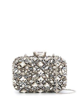 Silver Jimmy Choo CLOUD embellished clutch - Farfetch