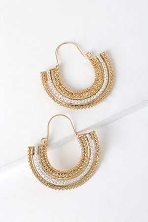 Cute Gold and Silver Earrings - Hoop Earrings - Boho Earrings