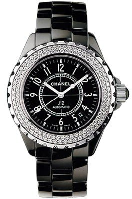 H0950 J12 Chanel Ceramic Black Ceramic Diamond Bezel Womens Automatic Watch.