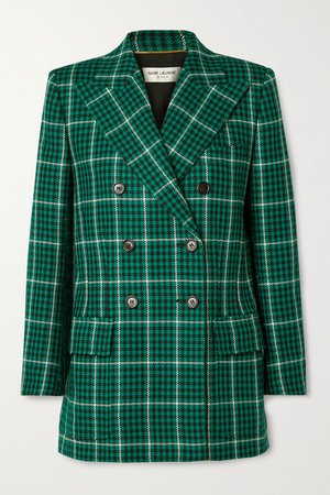 Double-breasted Checked Wool Blazer - Green
