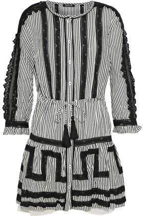 Crocheted-trimmed Striped Cotton-blend Mini Dress