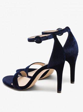 Ankle Strap Dark Blue Velvet High Heels Sandals - Shoes - US$ 41.69 | Simple-dress.com