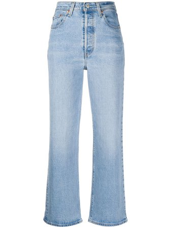 Blue Levi's high rise straight-leg jeans - Farfetch