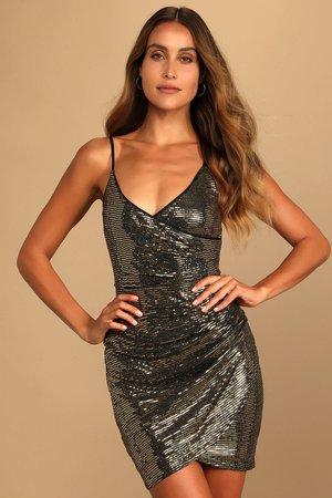 Gold Sequin Dress - Surplice Bodycon Dress - Tulip Mini Dress - Lulus