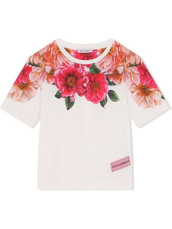 Shop white & pink Dolce & Gabbana Kids floral-print T-shirt with Express Delivery - Farfetch