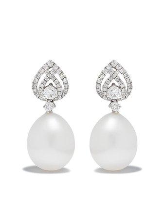 Kiki McDonough 18kt White Gold Pearls Tiered Pearl Diamond Detail Pearl Earrings - Farfetch