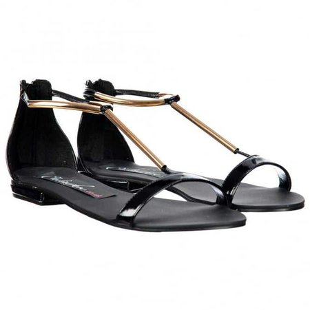 Onlineshoe T Bar Gladiator Flat Sandal - Gold Chrome Bar - Black Patent - WOMENS from Onlineshoe UK