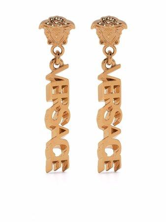 Versace Logo Drop Earrings - Farfetch