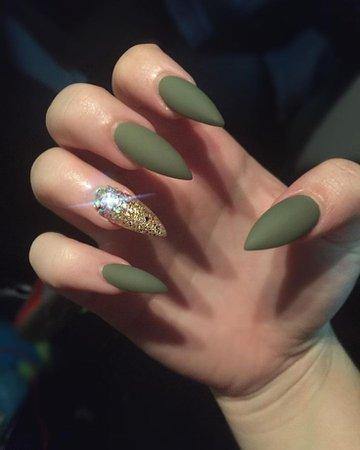 Olive Green Matte Nails