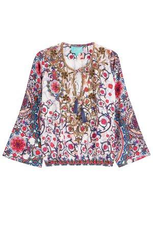Embellished Printed Silk Top Gr. XL