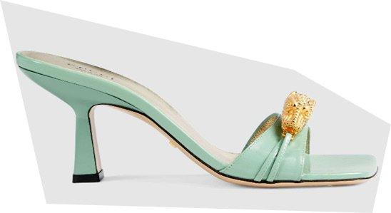 Gucci mid heel slide with tiger head mint green