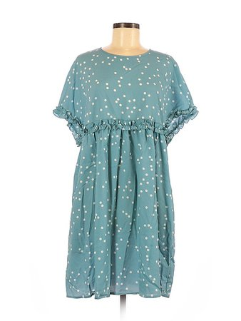 Suzanne Betro 100% Polyester Polka Dots Teal Blue Casual Dress Size M - 74% off | thredUP