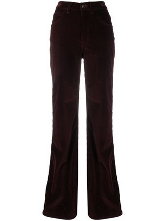Shop red Etro ribbed velvet trousers with Express Delivery - Farfetch