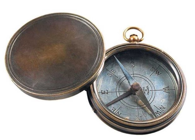 brown open compass