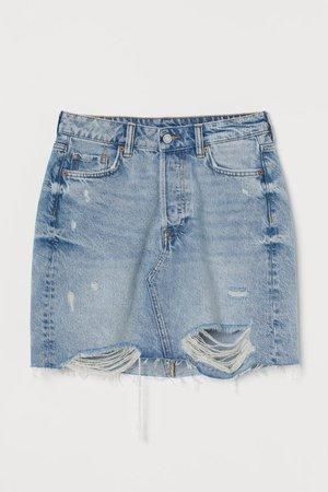 Denim Skirt - Light denim blue/trashed - Ladies   H&M US