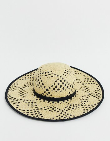 Miss Selfridge sun hat/contrast underlay in nude | ASOS