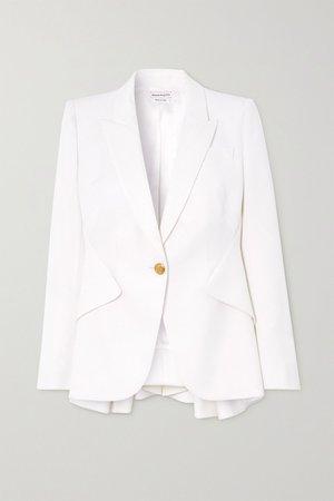 White Wool-twill peplum blazer | Alexander McQueen | NET-A-PORTER