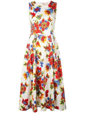 Carolina Herrera, Digital Flowers Flared Midi Dress