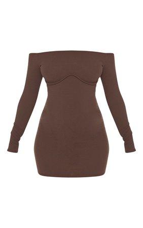 Chocolate Brown Binding Underbust Bodycon Mini Dress | PrettyLittleThing USA