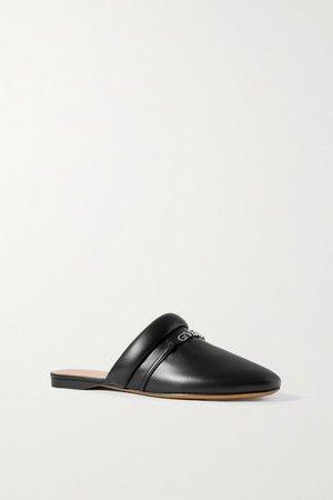Elba Logo-embellished Leather Slippers - Black