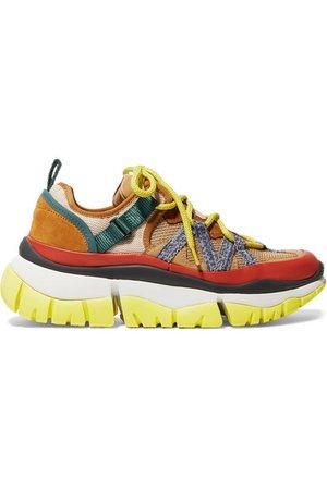 Chloé   Blake mesh, leather and suede platform sneakers   NET-A-PORTER.COM