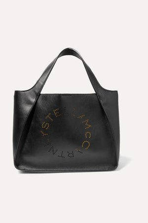 Perforated Faux Leather Tote - Black