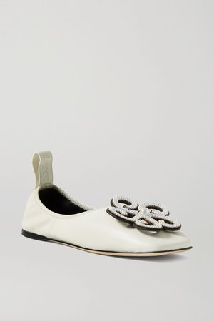 Faux Pearl-embellished Leather Ballet Flats - White