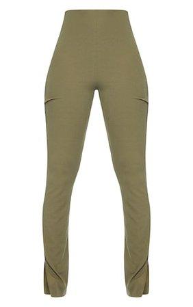 Tall Khaki Ribbed Split Hem Trousers   PrettyLittleThing USA