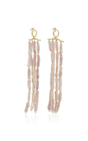Gold-Plated and Pearl Dangling Earrings by Joanna Laura Constantine | Moda Operandi