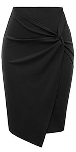 Kate Kasin Womens Knee Length Elastic Waist Stretchy Bodycon Business Pencil Skirt at Amazon Women's Clothing store