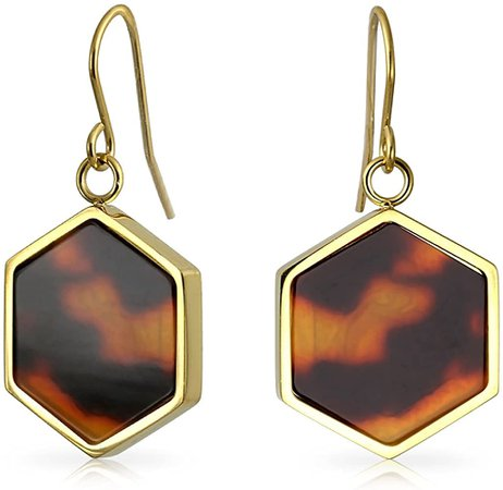 Amazon.com: Hexagon Shaped Brown Tortoise Shell Dangle Drop Earrings For Women 14K Gold Plated Stainless Steel: Jewelry