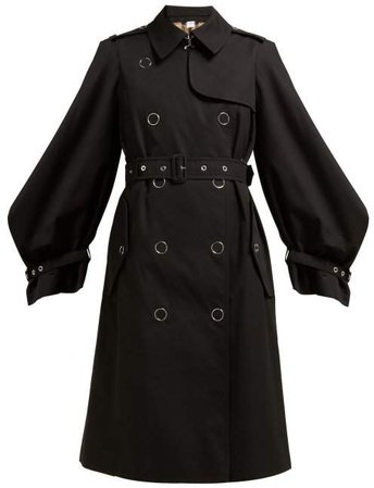Double Breasted Cotton Gabardine Trench Coat - Womens - Black