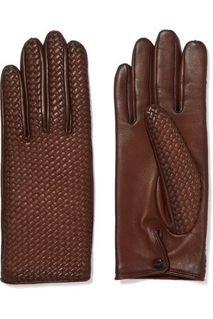 Agnelle | Woven leather gloves | NET-A-PORTER.COM