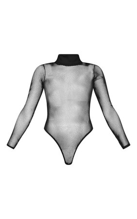 Black Long-Sleeve Fishnet Bodysuit