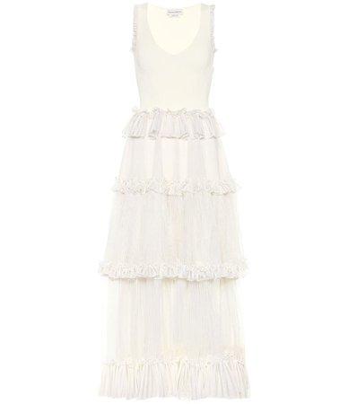 Tiered Silk Gown Dress