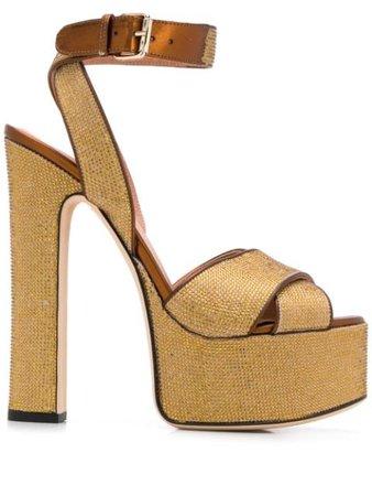 Shop gold Marco De Vincenzo embellished platform sandals with Express Delivery - Farfetch