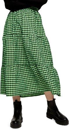 Gingham Tiered Ruffle Skirt
