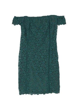 MANGO Guipure off-shoulder dress