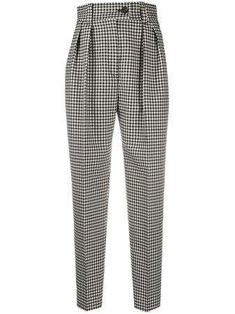Miu Miu Check Print High-Waisted Trousers MP13851V7W Black | Farfetch