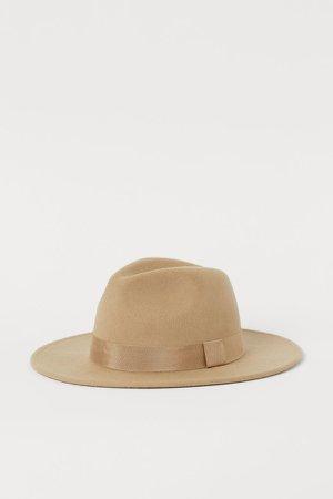 Felted Wool Hat - Beige