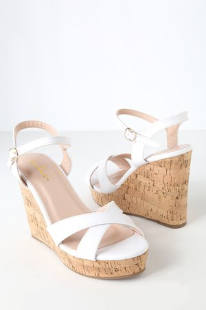 Cute White Sandals - Wedge Sandals - Cork Sandals
