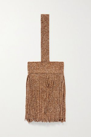 Brown Farah fringed beaded satin tote | Cult Gaia | NET-A-PORTER
